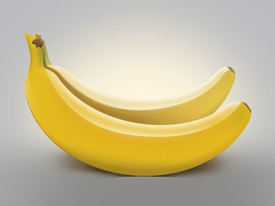 Процесс рисования банана в фотошопе.