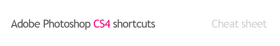 Adobe Photoshop CS4 shortcuts