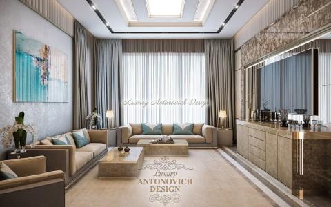 Стильная гостиная от Luxury Antonovich Design