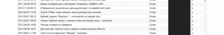 Интерфейс листинга новостей