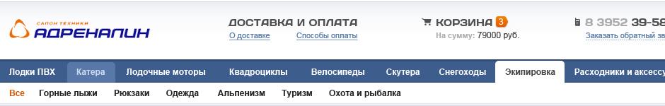 Дизайн интернет-магазина «Адреналин»