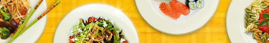 Иконки-тарелки с едой к сайту ресторанной тематики
