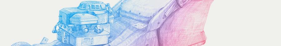 Иллюстрация газонокосилка «Oleo-Mac»